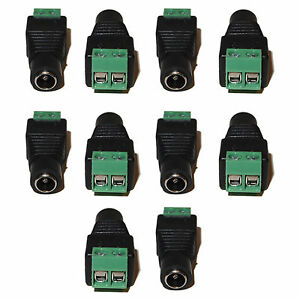 10pcs CCTV Camera DC Female Power Plug Jack Adapter Cable Socket 5.5mm x 2.1mm