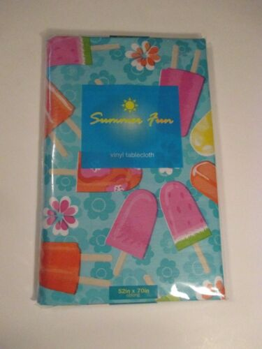NIP ELRENE SUMMER FUN Popsicle Party Vinyl Wipe Off Tablecloth~Oval~Oblong~Round
