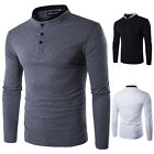 Men's Long Sleeve T-Shirt Casual Standing Collar Basic Tee Shirts Tops Blouse