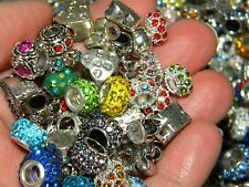 NEW 200 Large Hole Metal & Crystal Fancy spacer charm European Beads LOT(Eb200)