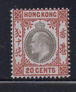 Hong Kong Sc 97 1904 20c or brn & blk Green Edward VII stamp mint Free Shipping