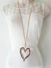 """Stunning 34"""" long ROSE gold tone snake chain & huge  heart pendant necklace  C50"""