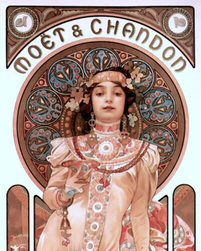 MOET /& CHANDON AD FRENCH ARTIST MUCHA OIL PAINTING ART REAL CANVAS GICLEE PRINT