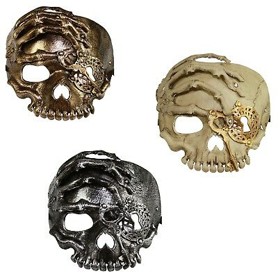 Faux PU Leather Pirate Skull Treasure Key Halloween Party Costume Mask Cosplay