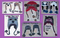 Adult-sized Silly Winter Hats - Dog, Owl, Cat, Panda, Raccoon, Monkey $19