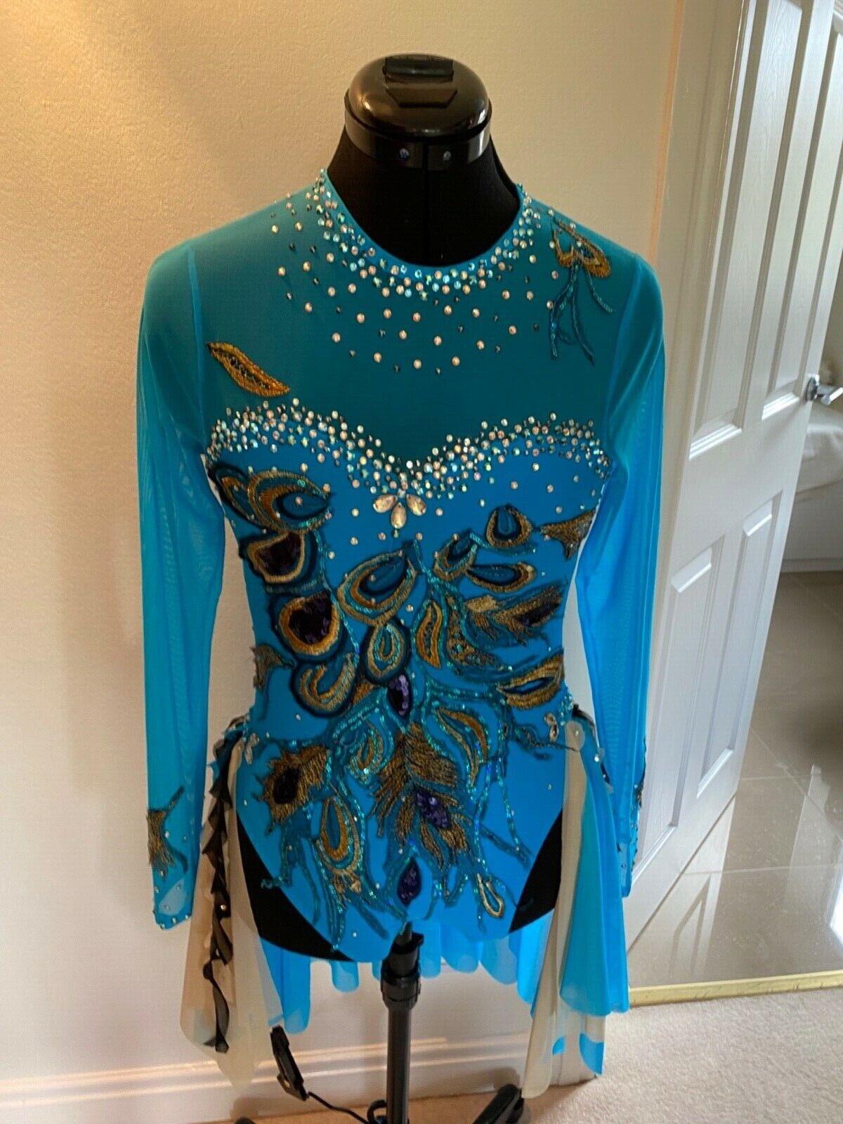 Bright blue peacock embellished dance / lyrical / modern / costume 13-15 years