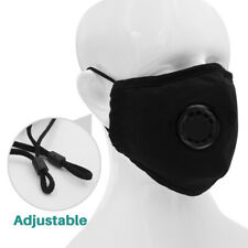 Black Air Purifying Face Mask Carbon Filter Vented Mask Respirator Washable Usa