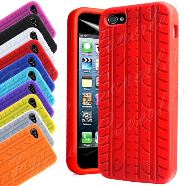 Soft Silicone Tyre Fitted Grip Rubber Gel Case Cover for Apple iPhone 4 4S