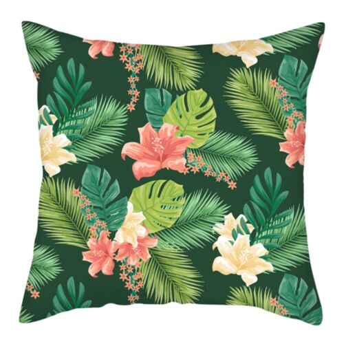 """18/"""" Green Leaves Plant Polyester Throw Pillow Case Sofa Cushion Cover Home Decor"""