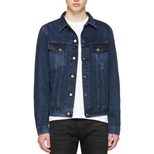 Nudie-hombres-slim-fit-denim-Jeans-chaqueta-organica-Billy-Deep-Indigo-Tamano-S-M