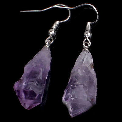 1x Natural Druzy Amethyst Stone Random Shape Women Ear Earrings Eardrop Jewelry