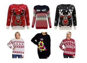 Ladies-Womens-Xmas-Christmas-Novelty-Jumpers-Sweater-Rudolph-Top-Plus-SIZE-8-24