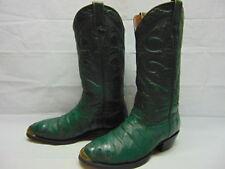 Mens 9 D Longhorn Custom Boots Green Embossed Anteater Leather Brass Wingtips