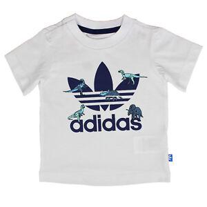 100% authentic 126ba c28e8 La imagen se está cargando Adidas-Originals-Ninos -Chicos-Trefoil-Logo-Camiseta-Dinosaurio-