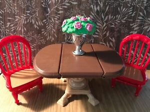Loving Family Dollhouse Miniature Blue Flip-Top Game Table /& 2 Pink Chairs