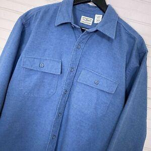 L-L-Bean-Chamois-Shirt-100-Cotton-L-S-Button-Up-Blue-Men-s-Size-L