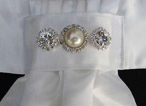 Ready Tied White Faux Silk Riding Stock//Bib with Choice of Coloured Gems
