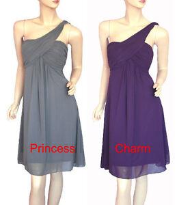 Size-8-10-12-14-16-18-20-Grey-Purple-Cocktail-Dress-One-Shoulder-New