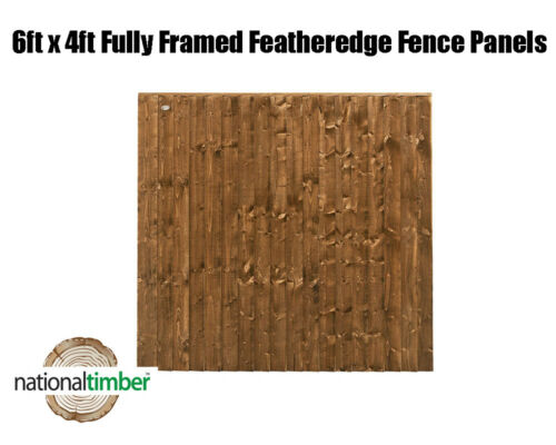 6ft x 4ft Fully Framed Featheredge Heavy Duty Fence Panels 6 x 4 Feather Edge