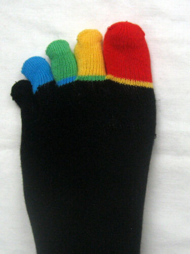 2 paia calze uomo da dita dei piedi igiene da uomo neri con vivaci dita dei piedi 36 a 46