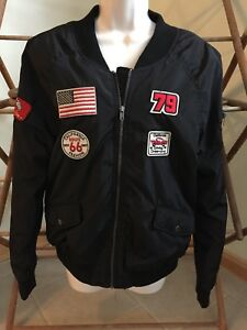 Ashley International Black Broderede Outerwear Patches Jacket 400224793496 Racing Med 26 BtWYwR15qx