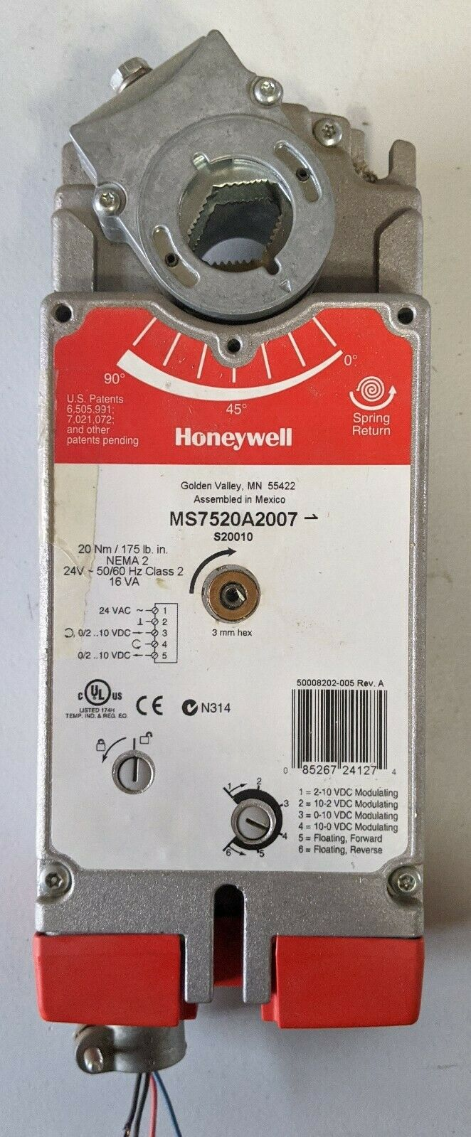 Honeywell MS7520A2007 Spring Return Damper Actuator Electric Direct Coupled 24V
