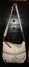 Designer FOSSIL Ivory Leather Large Tote Shoulder Bag Handbag Purse
