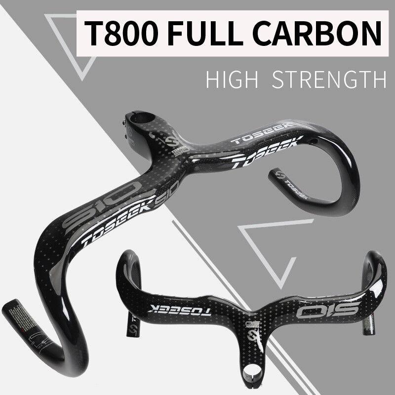 Carbon Fiber Road Bike Handlebar Integrated Drop Bar 400 420 440 Stem 90-120mm