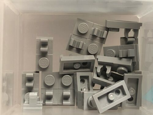 No 92280 QTY 20 Light Bluish Gray Plate 1 x 2 w Clip on Top LEGO Parts