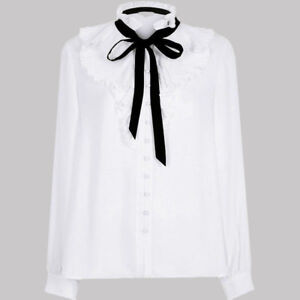 Ex-River-Island-Button-Down-White-Pleated-Blouse-Size-8-16-P86