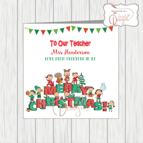 Personalised Teacher Card From Whole School Class Group For All Kids To Sign
