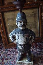 "Chalkware Large Cop Sculpture Lamp, rare item, it looks like wood, 26 "" tall"