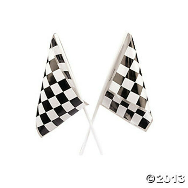 24 Checkered Flag Race Car Party Favors Decorations 2 Dozen Birthday Racing