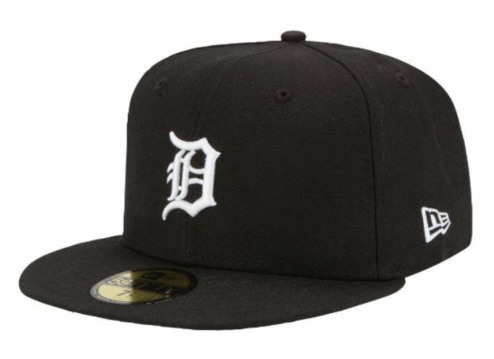 DETROIT TIGERS Black-White New MLB Era 5950 Cap 59Fifty MLB New Baseball Fitted Hat 2360be
