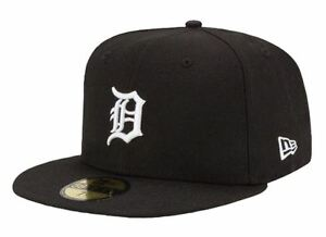 5c46e06b20a DETROIT TIGERS Black-White New Era 5950 Cap 59Fifty MLB Baseball ...
