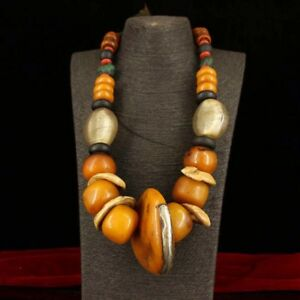 Chinese Antique Tibetan style beeswax gemstone necklace