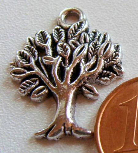 10 breloques charms perles ARBRE métal argente 21mm DIY création bijoux B62
