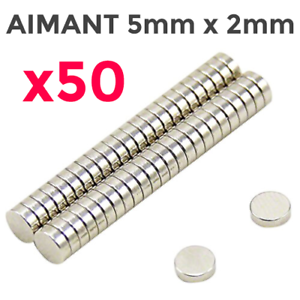 Lot-50x-Mini-Aimants-Neodyme-Neodymium-Magnets-Rond-Fort-Puissant-5mm-X-2mm
