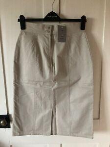 Vintage New Skirt Size 12 Champagne Colour Stone Split Detail Has Lining
