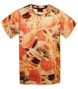 Hamburger-et-Frites-All-Over-T-Shirt-All-Over-Food-3d-Imprime-Drole-tee