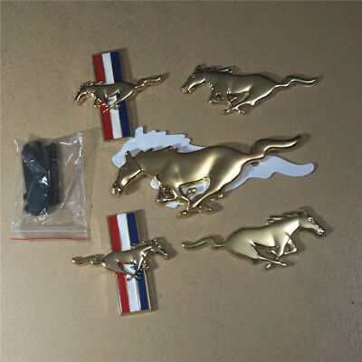 1 Pair of Golden mustang France Metal Sticker Badge Emblem Car Sport shelby gt