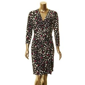 ANNE-KLEIN-NEW-Women-039-s-Black-Geometric-Pattern-Wrap-Dress-TEDO