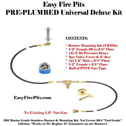 """T60K++ DIY PRE-PLUMBED GAS FIRE PIT KIT /& 60/"""" LIFETIME WARRANTED 316 BURNER"""