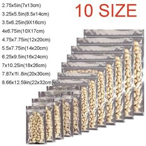 100x-Assorted-Sizes-Glossy-Mylar-Foil-Clear-Front-Silver-Rear-Zip-Lock-Pouch-Bag