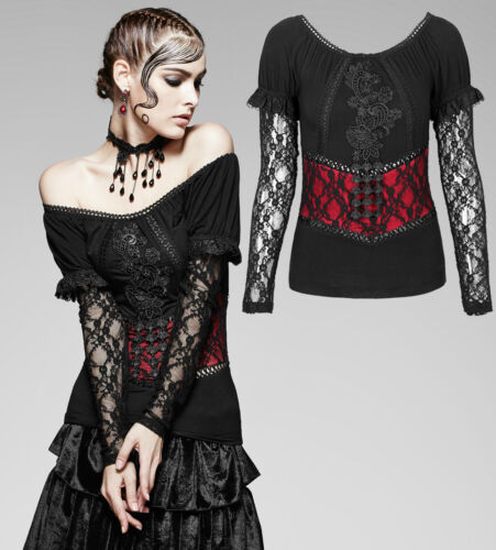 Gothic Punk Rave Damen Shirt Spitze lace red black Top Bluse schwarz rot T-373