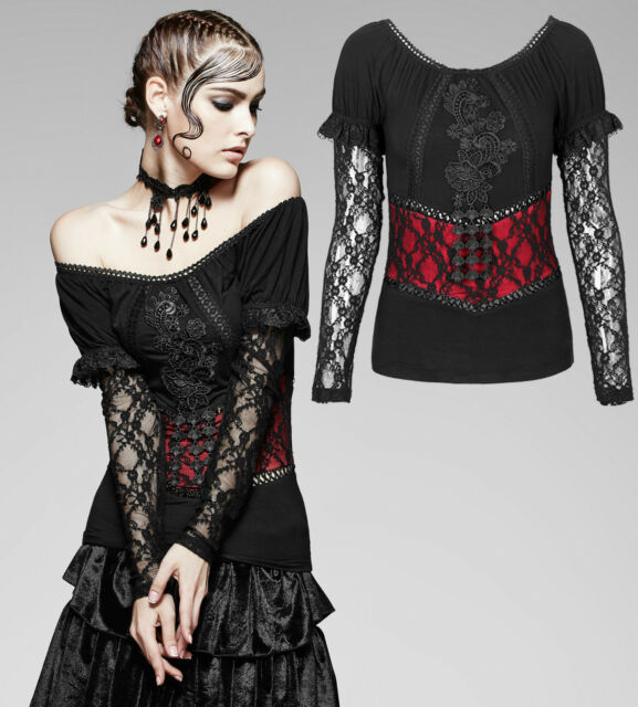 338bbadad71e Gothic Punk Rave Damen Shirt Spitze lace red black Top Bluse schwarz rot  T-373