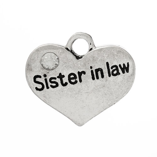29 5 ANTIQUE SILVER RHINESTONE SISTER IN LAW HEART CHARMS PENDANTS~CRAFTS UK
