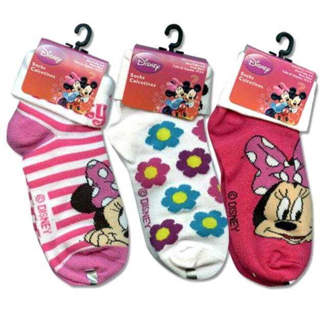 3-PAIR Disney Minnie Mouse Girls Turn Cuff Socks Size 6-8 Shoe Size 10.5-4 NEW