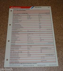 Inspektionsblatt Honda Sky Sgx 50 Anno 1997