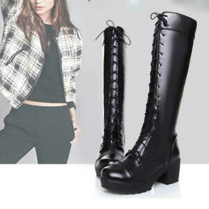 e5ba885fc6a Details about Women s Knee High Boots Lace Up Chunky Platform Heel Combat  Riding Wedge Boots
